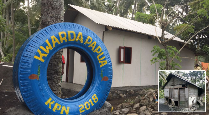 Rumah milik Mba Surah dengan tampilan wajah baru hasil karya GP Kwarda Papua (Foto insert : rumah sebelum dibedah)