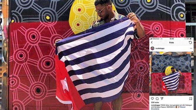 """Foto seorang anak muda dengan bendera Bintang Kejora yang diduga kuat anak kandung Bupati Nduga diakun media sosial Instagram """"rockdoggs"""""""