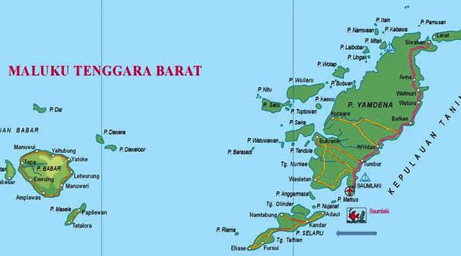 Pulau Selaru, di selatan Kabupaten Maluku Tenggara Barat