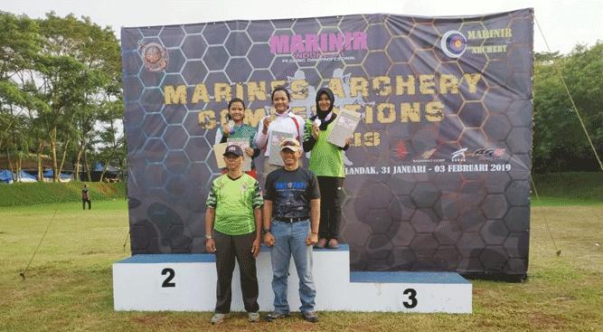 """Atlet panahan Papua berhasil menyabet tiga medali emas dan satu medali perunggu pada Kejuaraan Panahan bertajuk """"Marinir Open Archery Dankormar Cup 2019"""""""