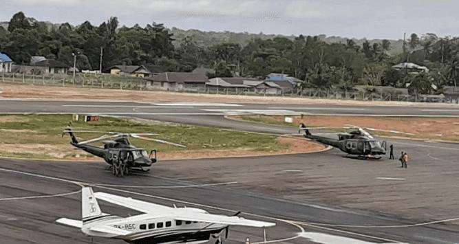 2 Helly Bell 412 yang dikerahkan untuk upaya pencarian Helly MI-17