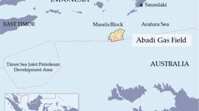 Proyek lapangan gas abadi Blok Masela yang berlokasi 150 kilometer lepas pantai Saumlaki di Provinsi Maluku
