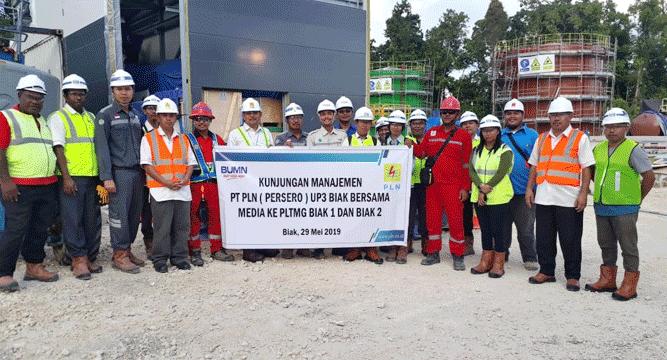 Kunjungan Manajemen PT PLN (Persero) UP3 Biak bersama awak media ke PLTMG Biak 1 dan Biak 2 di PLTMG Urfu, Sabtu (29/5/2019)