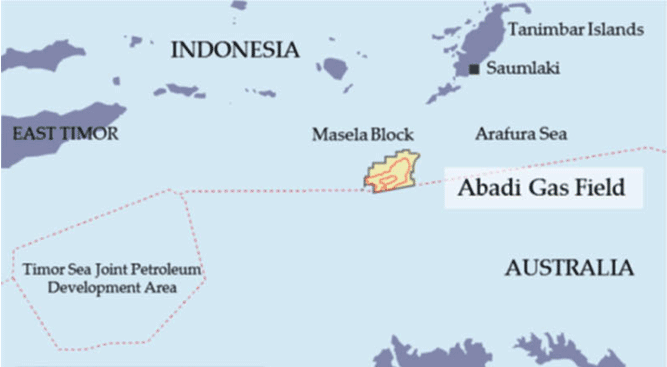 Peta lokasi kilang Blok Masela, Saumlaki, Kabupaten Kepulauan Tanimbar