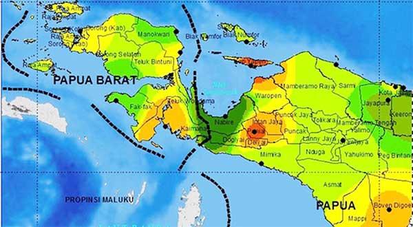 Peta Papua - Papua Barat / Sumber : Google