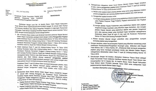 Surat Kemendagri Terkait Kebijakan Bupati Teluk Bintuni Soal Penunjukan Pejabat ASNSurat Kemendagri Terkait Kebijakan Bupati Teluk Bintuni Soal Penunjukan Pejabat ASN