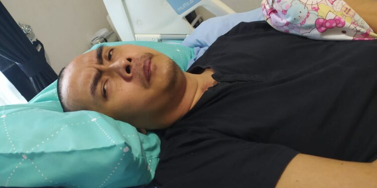 Mantan Kasat Reskrim Polres Wonorigi, Kompol Aditia Mulya Ramadhani Hanya Terbaring Ditempat Tidur Pascar Dianiaya, Mei 2019.