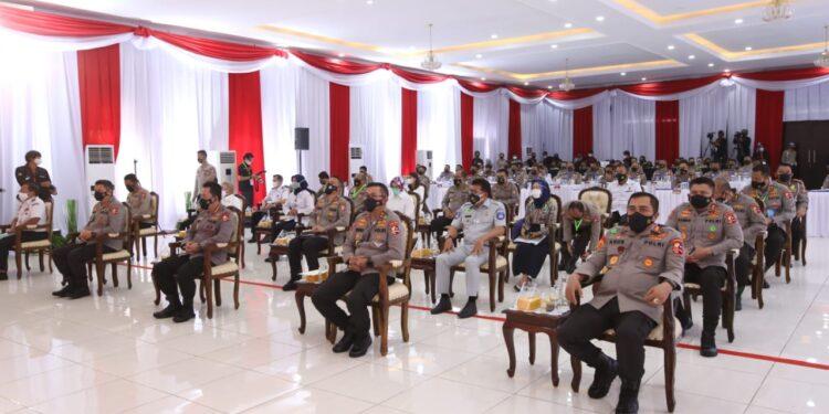 Peserta rakernis fungsi lalu lintas (lantas) tahun 2021 di Serpong, Tangerang Selatan, Rabu (10/3/2021). Foto: Divisi Humas Polri