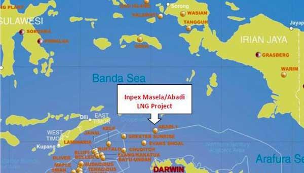 Peta lokasi Blok Masela, Kabupaten Kepulauan Tanimbar