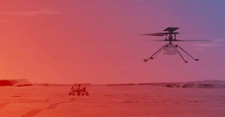 Ilustrasi: Ingenuity sedang terbang di Mars   Kredit: NASA