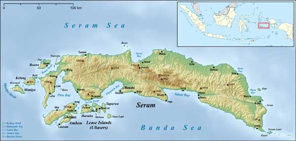 Peta Pulau Seram, Maluku / Foto : Istimewa