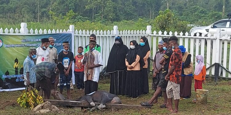 DWP Kabupaten Teluk Bintuni Gandeng Majelis Taklim Miftahul Jannah potong hewan qurban di Dua Distrik, Rabu (21/7/2021).(Foto : Istimewa)
