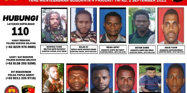 Identitas 17 DPO Tersangka Penyerangan Posramil dan Pembunuhan Berencana 4 Prajurit TNI-AD serta 2 Prajurit TNI-AD Luka Berat di Kampung Kisor, Distrik Aifat Selatan disebarkan Polda Papua Barat, Rabu (15/9/2021).(Foto : Istimewa)
