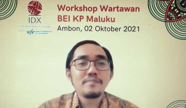 Bursa Efek Indonesia Kantor Perwakilan Maluku menggelar Workshop wartawan BEI KP Maluku yang berlangsung secara virtual. (2/10)